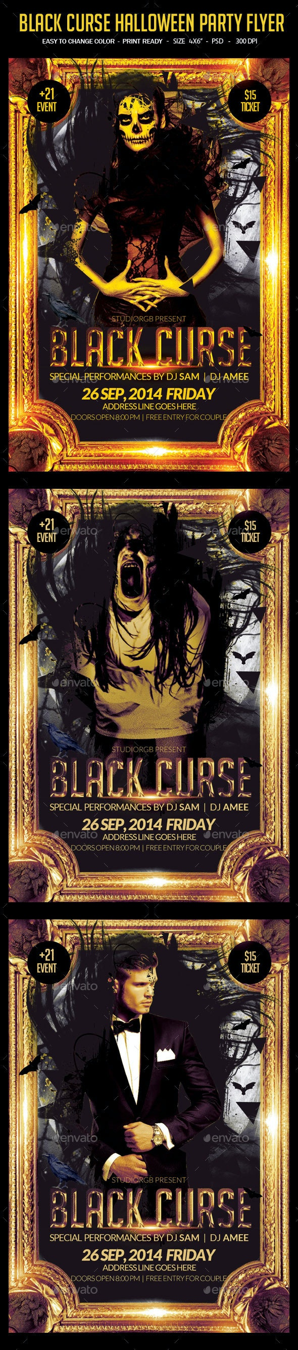 Black Curse Night Party Flyer - Clubs & Parties Events