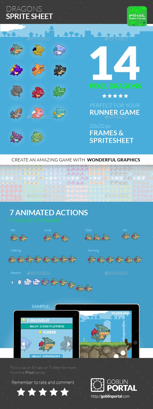 Dragon Sprite Sheet - Sprites Game Assets
