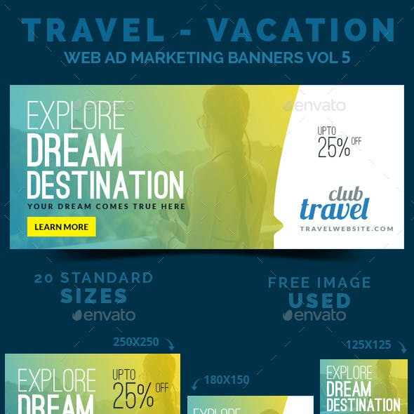 Travel - Vacation Web Ad Marketing Banners Vol 5