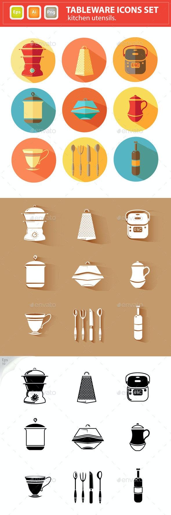 Vector Tableware Icons Set. Kitchen Utensils.