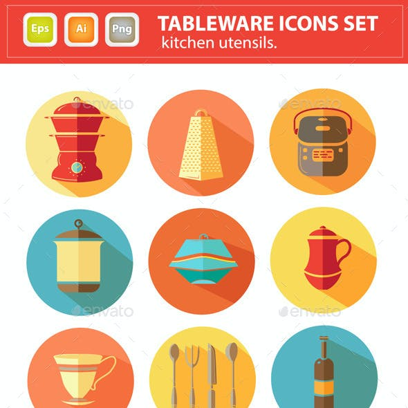 Vector Tableware Icons Set. Kitchen Utensils.