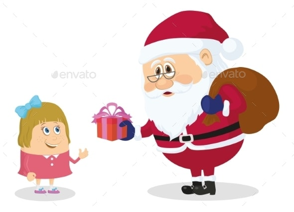 Santa Claus and Girl - Christmas Seasons/Holidays