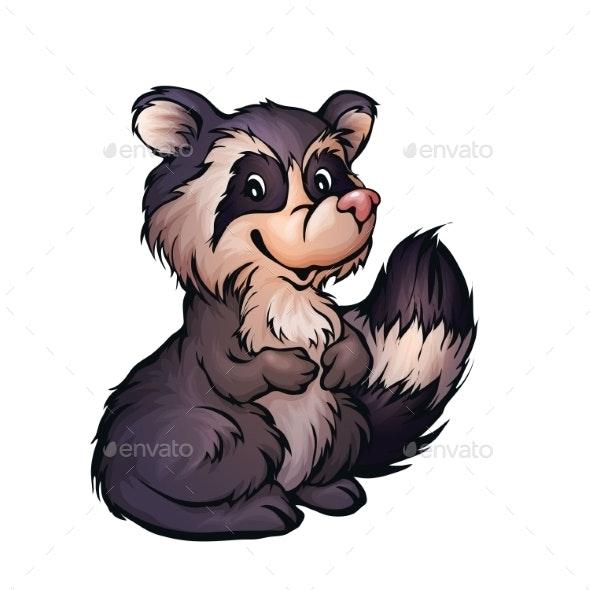 Vector Illustration of Raccoon in Cartoon Style - Animals Characters