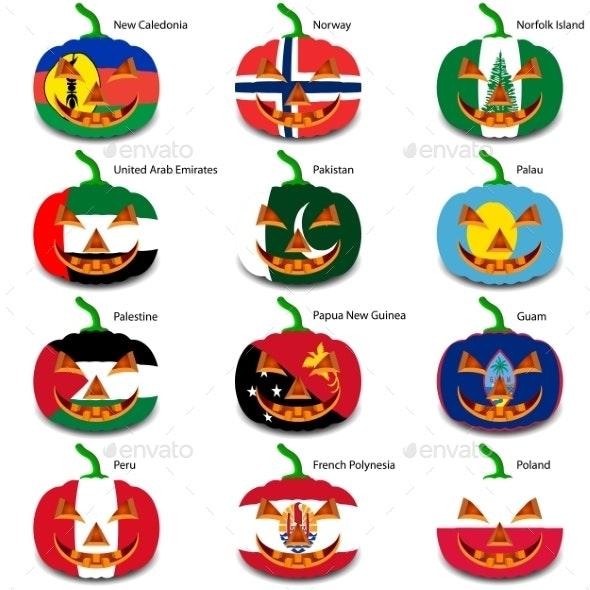 Set Pumpkins for Halloween as a Flags of the World - Halloween Seasons/Holidays