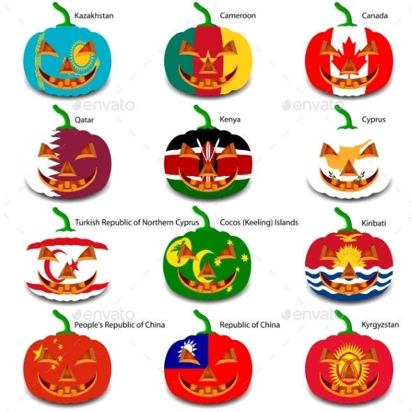 Set Pumpkins for Halloween as a Flags of the World - Halloween Seasons/Holidays