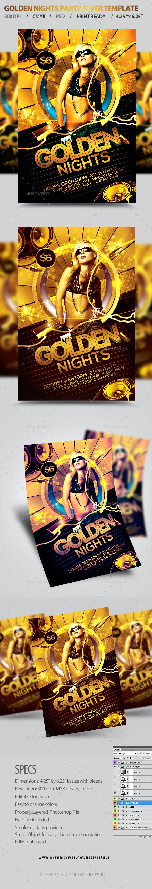 Golden Nights Party Flyer Template PSD - Clubs & Parties Events