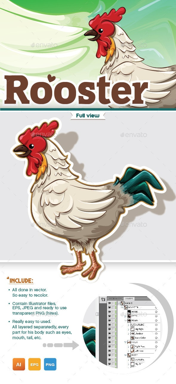 Colorful and Detailed Rooster - Animals Characters