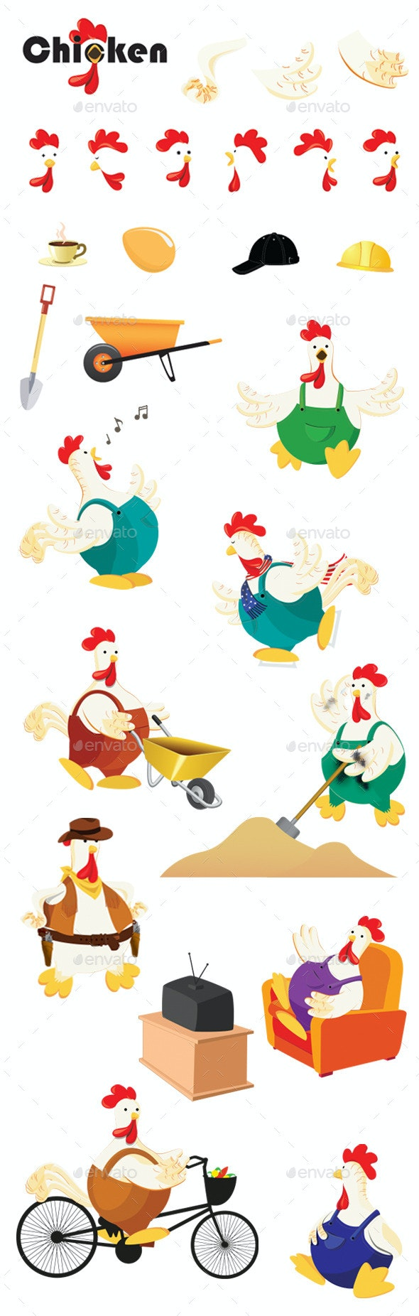 Funny Chickens - Animals Characters