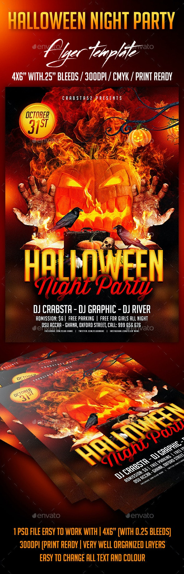 Halloween Night Party Flyer template - Flyers Print Templates