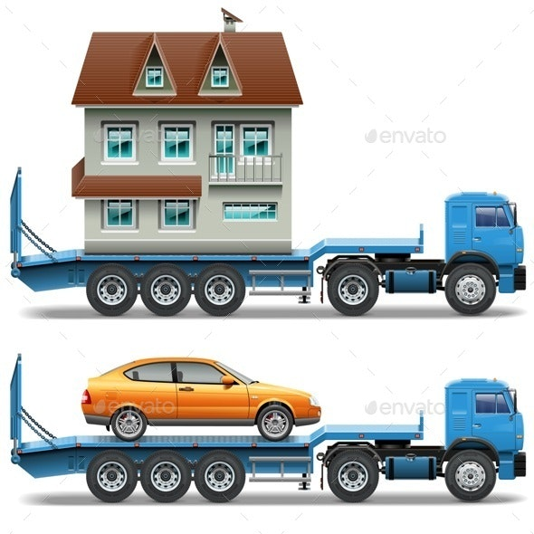 Vector Trailer with House and Car - Industries Business