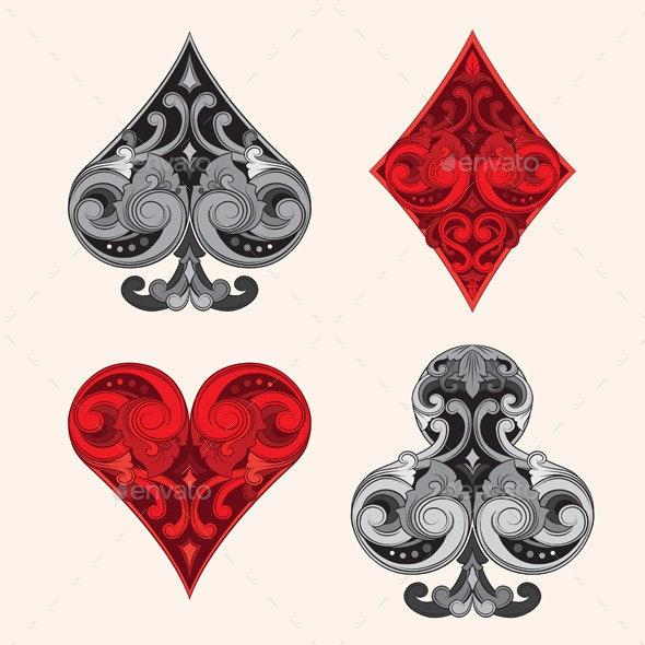 Playing Card Vintage Ornamental  - Decorative Symbols Decorative