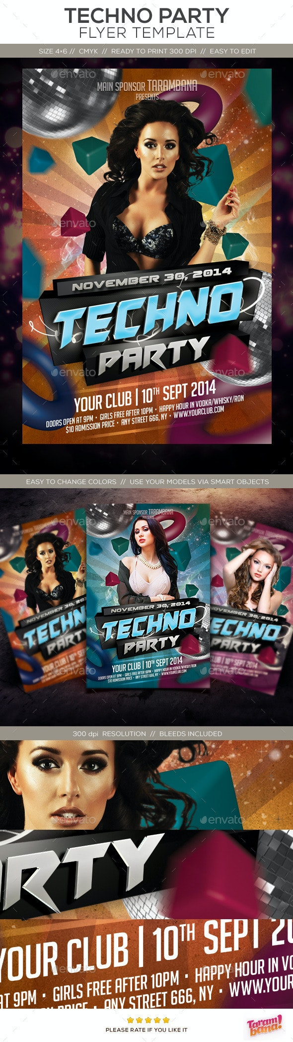Party Flyer Template - Techno - Clubs & Parties Events