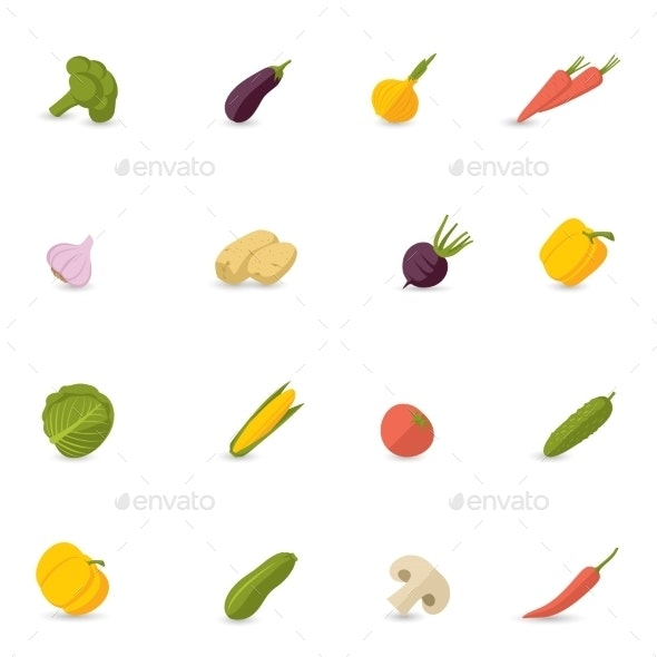 Vegetables Icons Flat Set - Food Objects