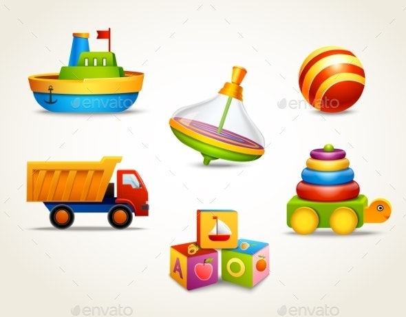 Toys Icons Set - Man-made Objects Objects