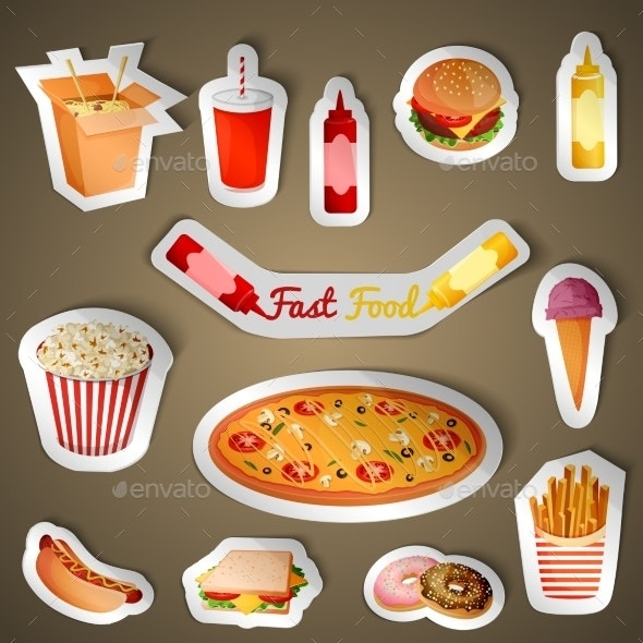 Fast Food Stickers - Food Objects