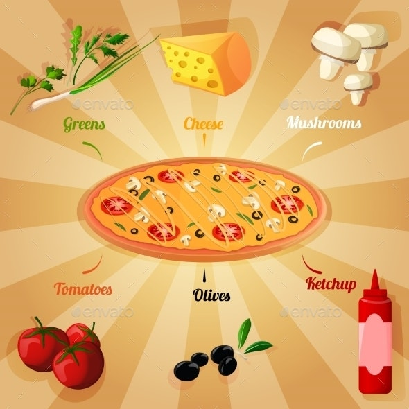 Pizza Ingredients Poster - Food Objects