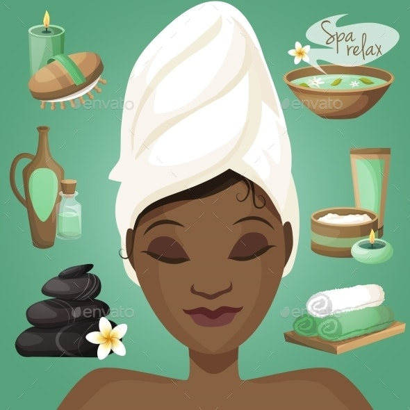 Black Woman in Spa - Health/Medicine Conceptual
