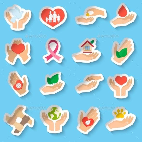 Charity and Donation Stickers - Decorative Symbols Decorative