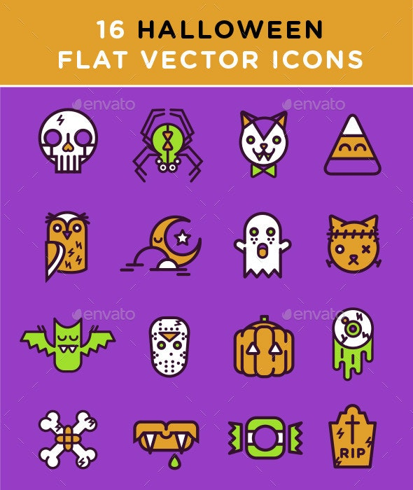 16 Halloween Flat Vector Icons