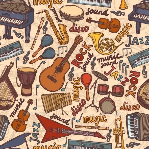 Musical Instruments Sketch Seamless Pattern - Backgrounds Decorative