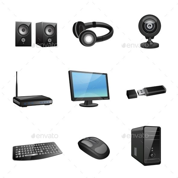Computer Accessories Icons Black - Computers Technology