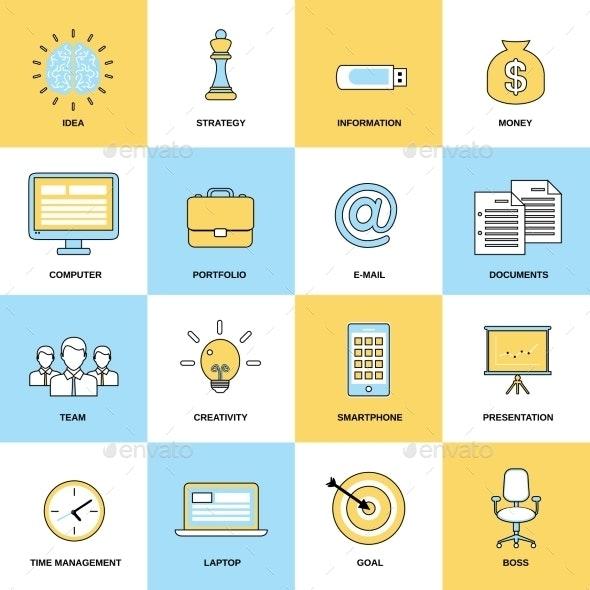 Business Icons Flat Line Set - Concepts Business