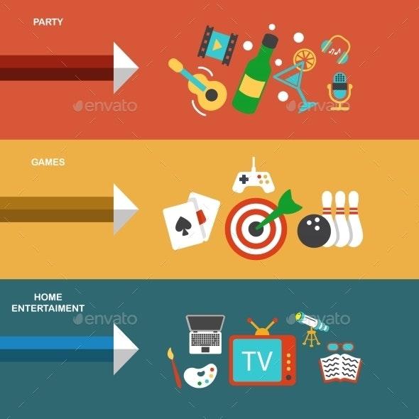 Entertainments Flat Banner - Concepts Business