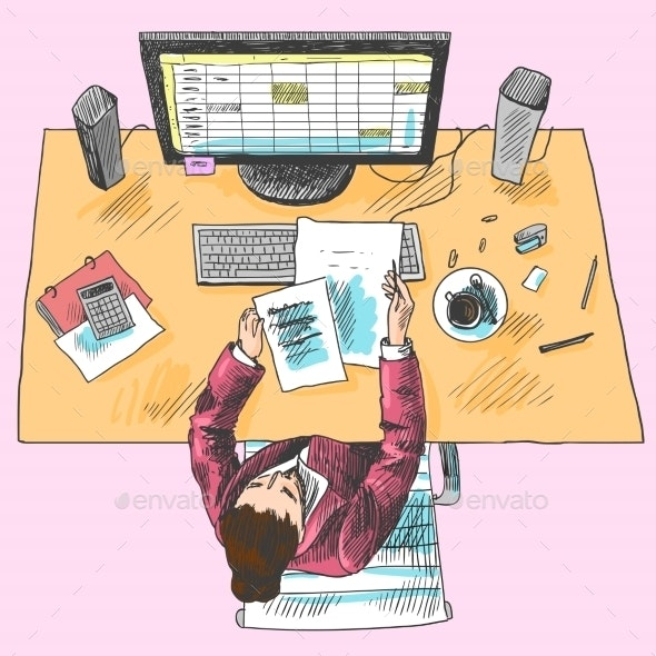 Accountant Work Place Colored - Concepts Business
