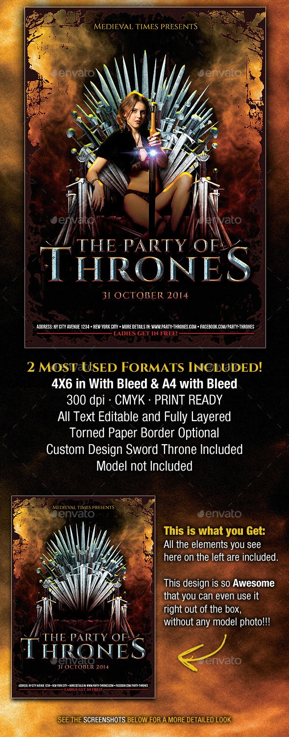 The Party of Thrones Medieval Flyer - Flyers Print Templates