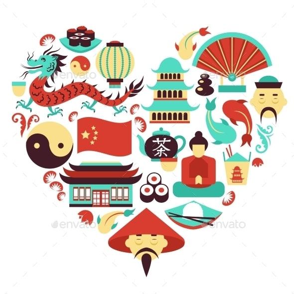 China Symbols Heart - Travel Conceptual
