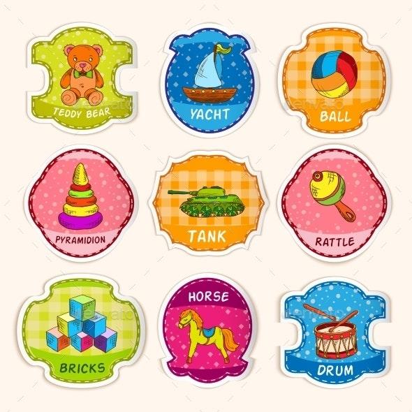 Toys Labels Sketch - Decorative Symbols Decorative