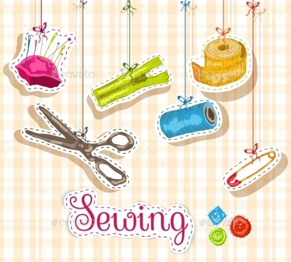 Sewing Sketch Composition - Decorative Symbols Decorative