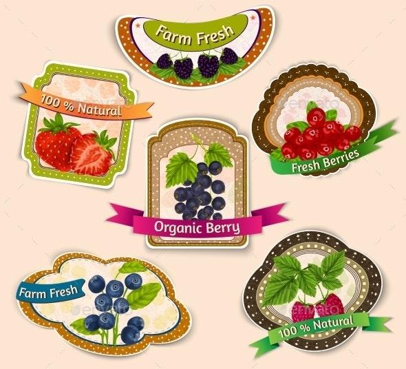 Berries Emblems Set - Food Objects