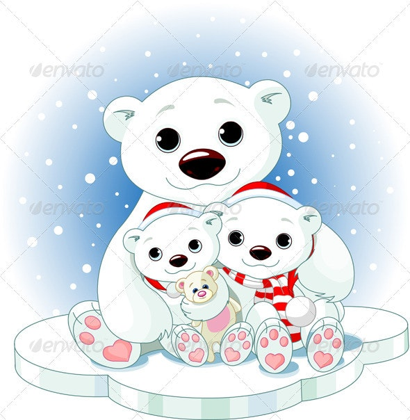 Christmas Polar Bear Family - Christmas Seasons/Holidays