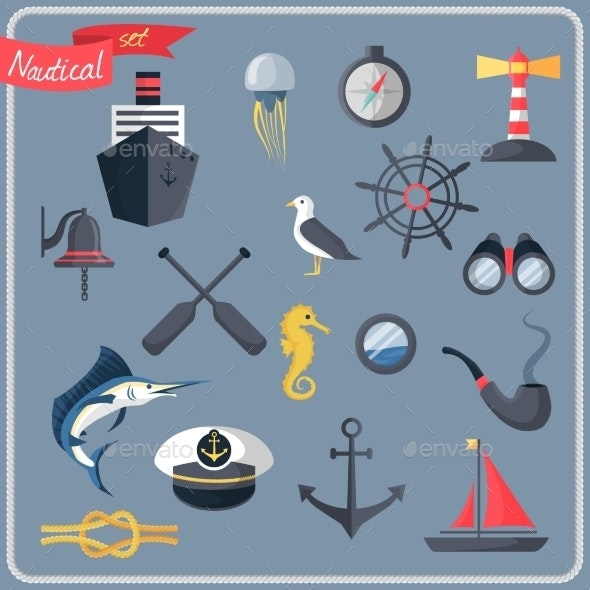 Nautical Icons Set  - Travel Conceptual