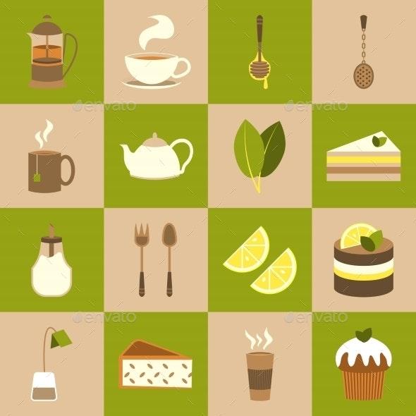 Tea Icons Set - Food Objects