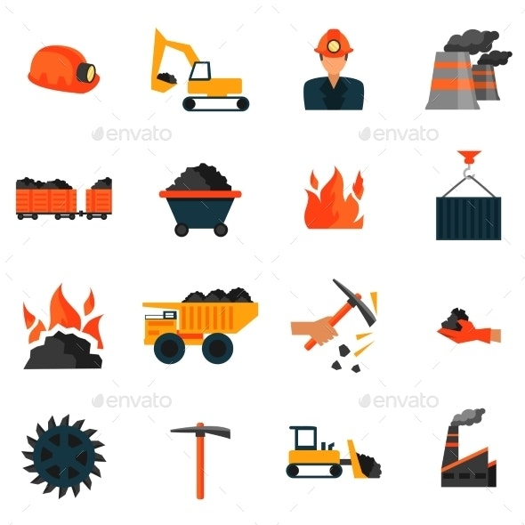 Coal Industry Icons - Web Elements Vectors