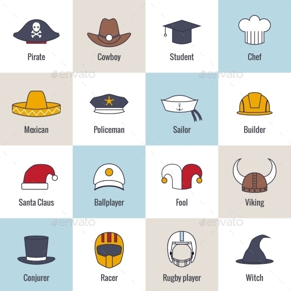 Icons Hat Flat Line - Miscellaneous Icons