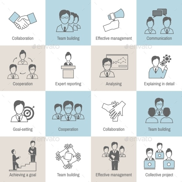 Teamwork Icons Line Flat - Business Icons
