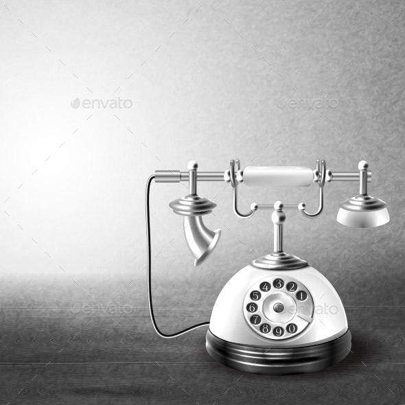 Old Black and White Telephone  - Communications Technology