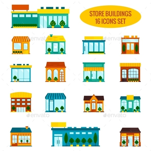 Store Building Icons Set - Buildings Objects