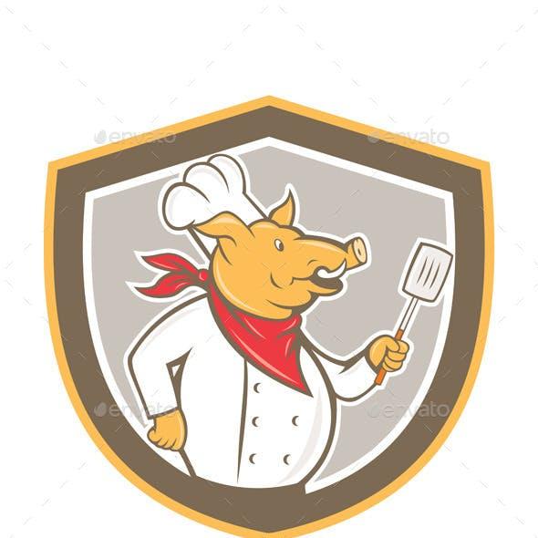 Pig Chef Holding Spatula Shield Cartoon