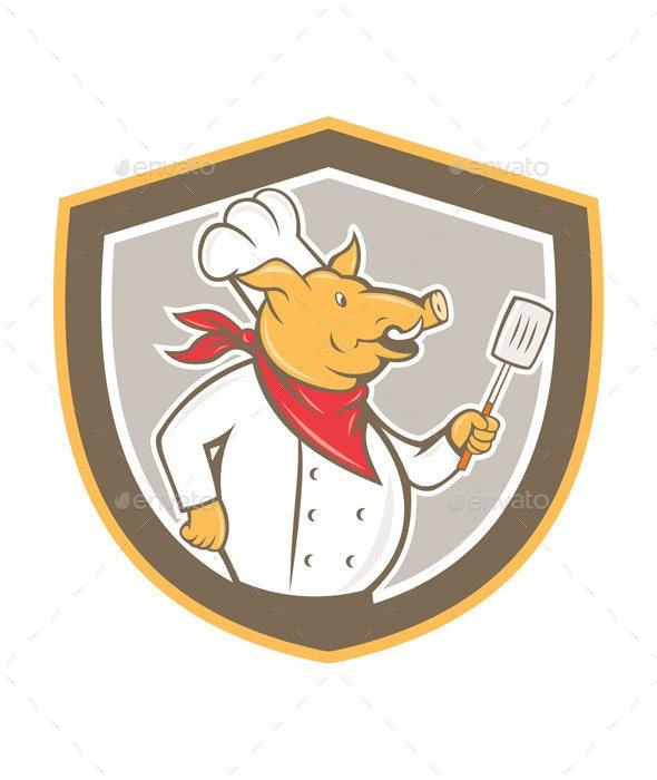Pig Chef Holding Spatula Shield Cartoon - Animals Characters