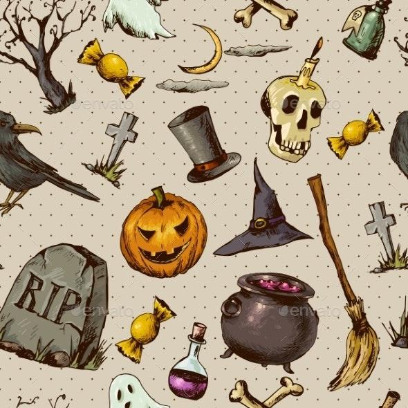 Vintage Halloween Seamless Background  - Patterns Decorative