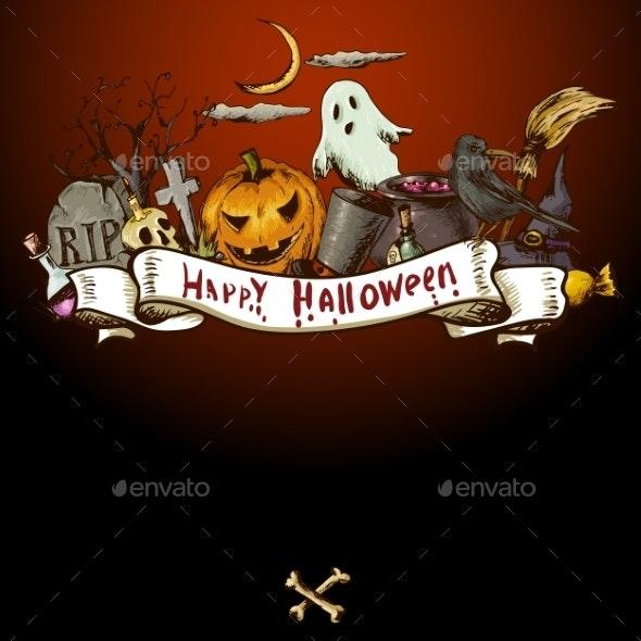 Halloween Invitation Card  - Patterns Decorative