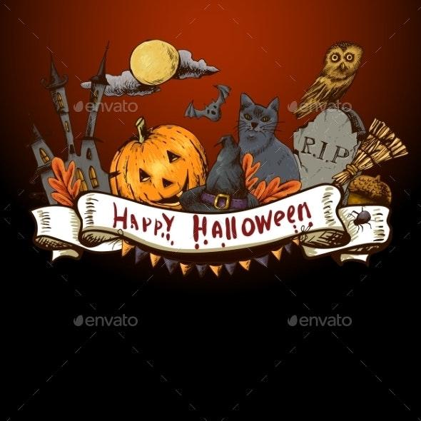 Hand-drawn Halloween Invitation Card  - Patterns Decorative