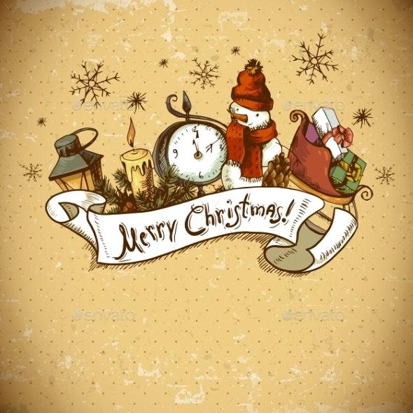Hand-drawn Christmas Invitation Card  - Patterns Decorative
