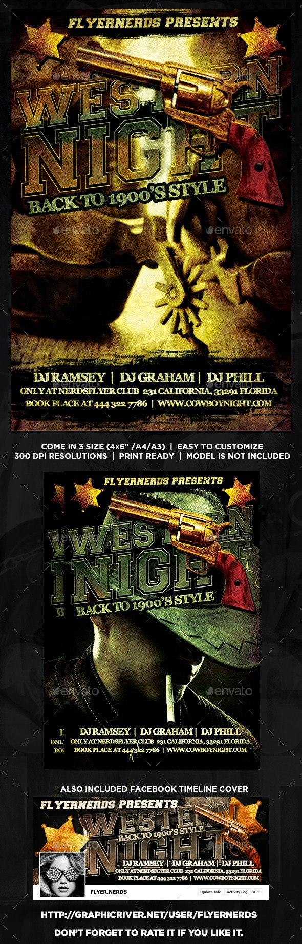 Western Night Party Flyer - Clubs & Parties Events