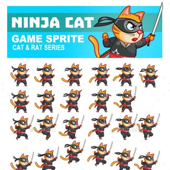 Ninja Cat Game Sprite