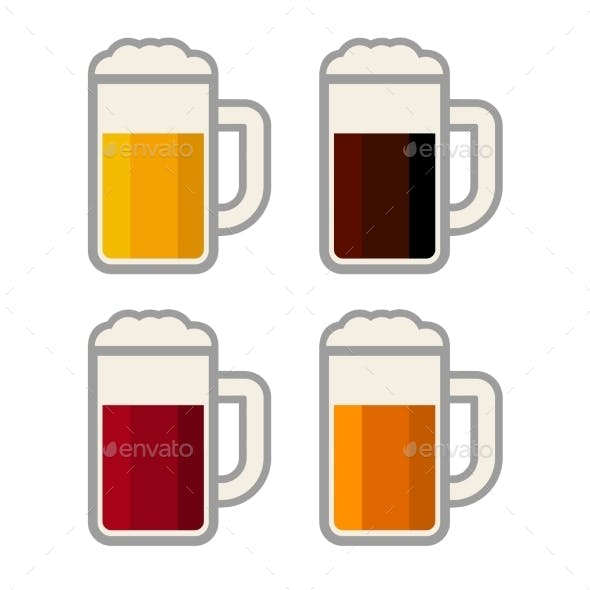 Four Glasses with Different Color Beers on White B